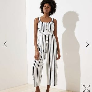 NWT Loft Plus Striped Strappy Jumpsuit
